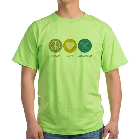 Peace Love Lacrosse Green T-Shirt