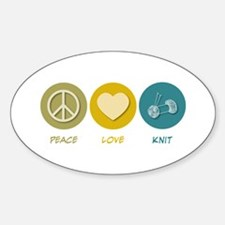 Peace Love Knit Oval Decal