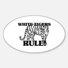 White Tigers Rule! Oval Decal