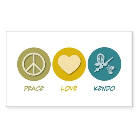 Peace Love Kendo Rectangle Sticker 50 pk)