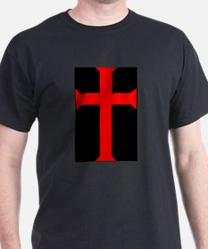 Red Cross/Black Background T-Shirt