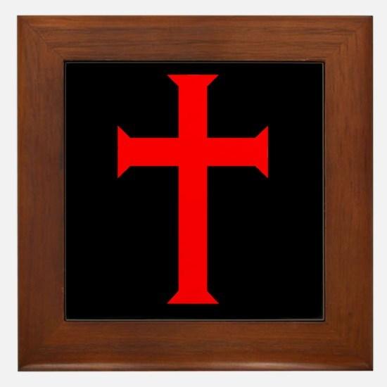 Red Cross/Black Background Framed Tile