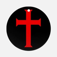 Red Cross/Black Background Ornament (Round)