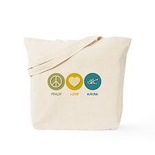 Peace Love Kayak Tote Bag