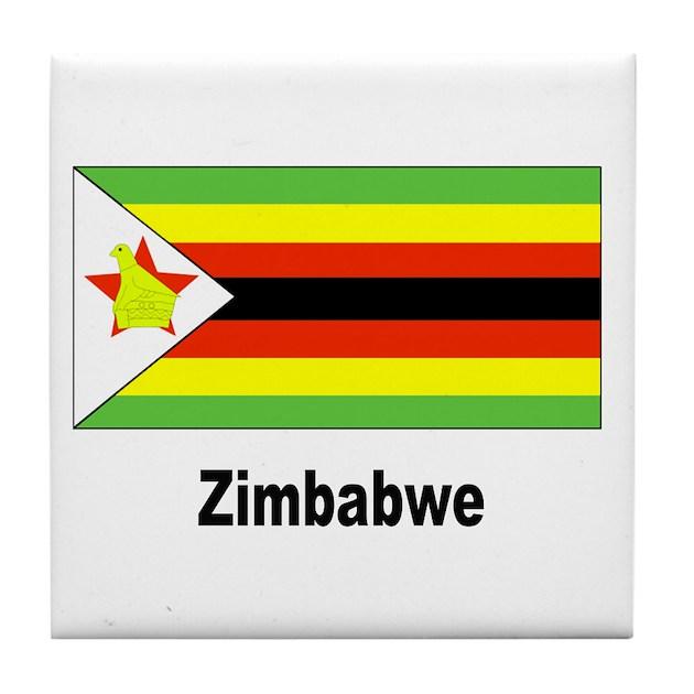 Zimbabwe Flag Tile Coaster By W2arts