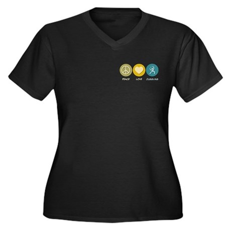Peace Love Juggling Women's Plus Size V-Neck Dark