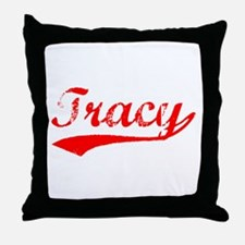 Vintage Tracy (Red) Throw Pillow