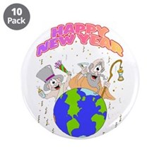"""Happy New Year 3.5"""" Button (10 pack)"""