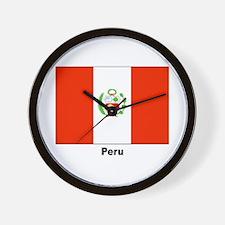 Peru Peruvian Flag Wall Clock