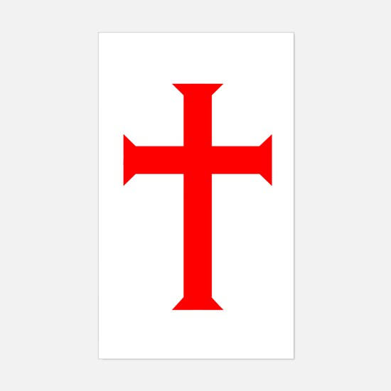 Red Cross/White Background Rectangle Decal