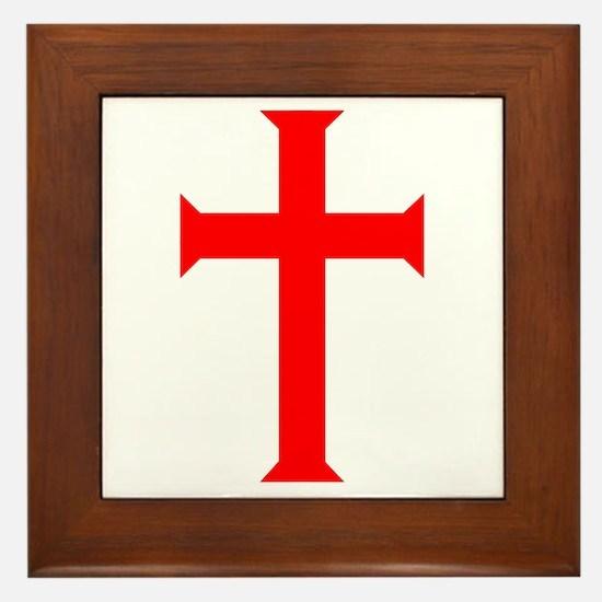 Red Cross/White Background Framed Tile