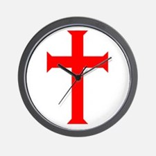 Red Cross/White Background Wall Clock