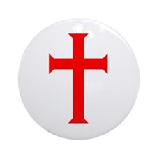 Red Cross/White Background Ornament (Round)