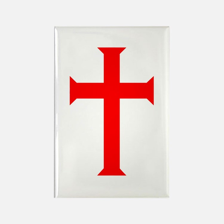 Red Cross/White Background Rectangle Magnet