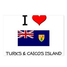 I Love Turks & Caicos Island Postcards (Package of