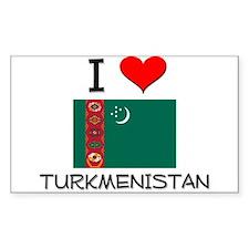 I Love Turkmenistan Rectangle Decal