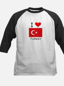 I Love Turkey Kids Baseball Jersey