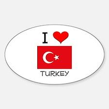 I Love Turkey Oval Decal