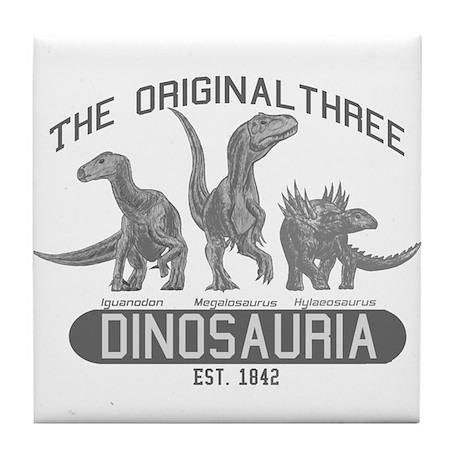 Grayscale Dinosauria Tile Coaster