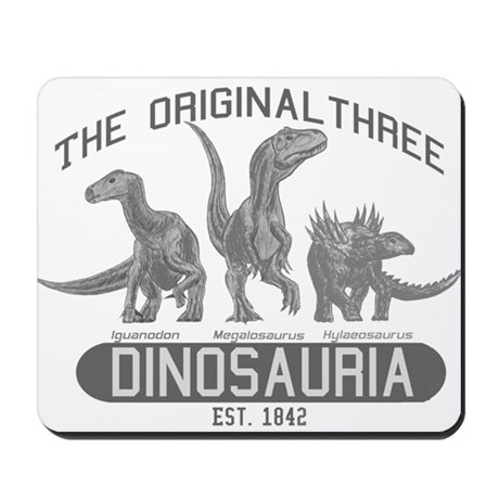 Grayscale Dinosauria Mousepad