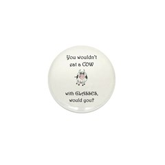 Cow with Glasses (PETA) Mini Button (100 pack)