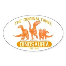 Orange Dinosauria Oval Decal