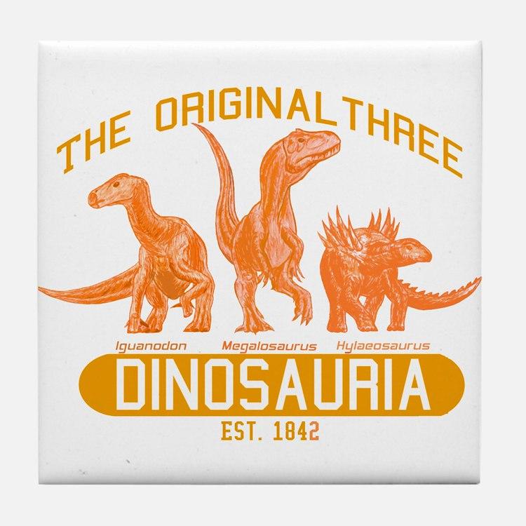 Orange Dinosauria Tile Coaster