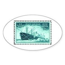 Merchant Marine Military Stamp Oval Decal