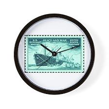 Merchant Marine Military Stamp Wall Clock