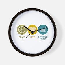 Peace Love Interior Design Wall Clock