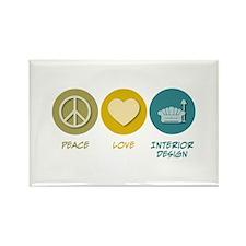 Peace Love Interior Design Rectangle Magnet (100 p