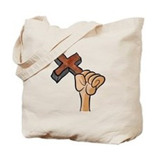 Christian Holding Cross Tote Bag