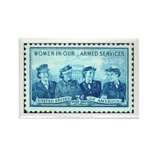 Women in Military Stamp Rectangle Magnet
