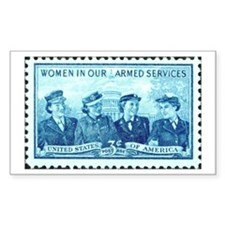 Women in Military Stamp Rectangle Decal