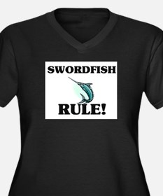 Swordfish Rule! Women's Plus Size V-Neck Dark T-Sh