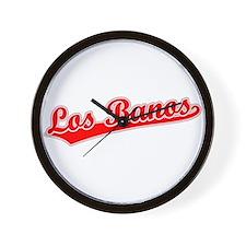 Retro Los Banos (Red) Wall Clock