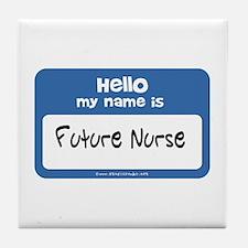 Future Nurse Name Tag Tile Coaster