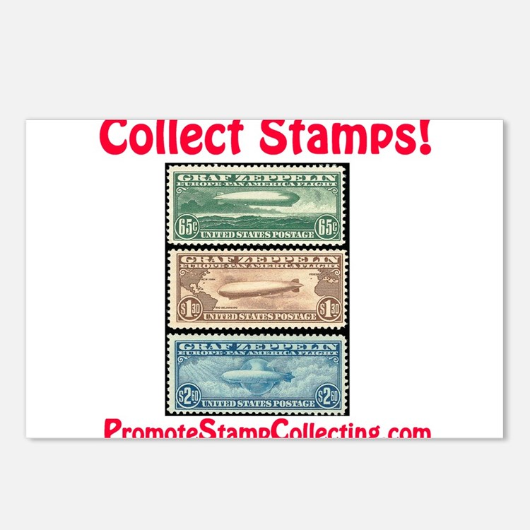 Cute Stamp collecting Postcards (Package of 8)