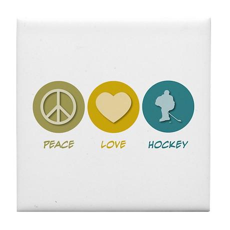 Peace Love Hockey Tile Coaster