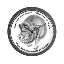 Pigs Look You Square in the Eye Wall Clock
