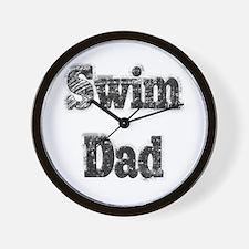 Swim Dad II BnW Wall Clock