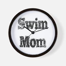 Swim Mom II BnW Wall Clock