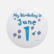June 1st Birthday Ornament (Round)