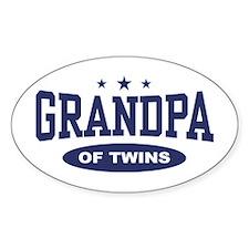 Grandpa of Twins Oval Decal