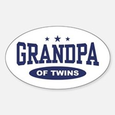 Grandpa of Twins Oval Decal