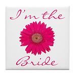 Pink Daisy Bride Tile Coaster