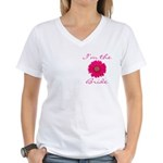 Pink Daisy Bride Women's V-Neck T-Shirt