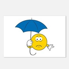 Umbrella Sad Smiley Face Postcards (Package of 8)