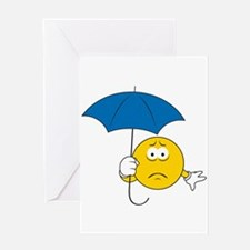 Umbrella Sad Smiley Face Greeting Card