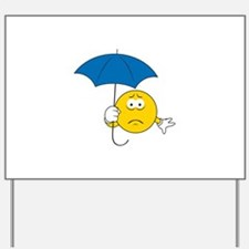 Umbrella Sad Smiley Face Yard Sign